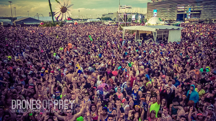 Capture what photographers can't with drones - Drone crowd photos at the Electric Daisy Carnival in NY