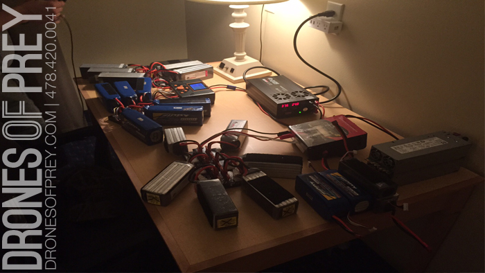 Drone Lithium battery charging station - prepping for next day shoot