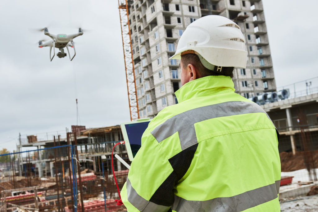 Drone viewing construction site
